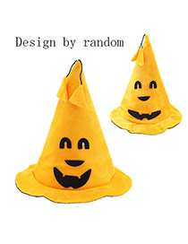 Exaggerated Yellow Smiling Face&tassel Pendant Decorated Halloween Pumpkin Shape Hat