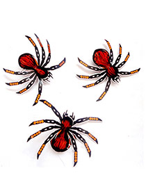 Exaggerated Multi-color Color Matching Decorated Spider Shape Halloween Props(3pcs)