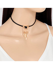 Personality Gold Color Round Shape Decorated Tassel Simple Choker