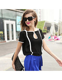 Casual Black Color Matching Design Short Sleeve Hollow Out Chiffon T-shirt