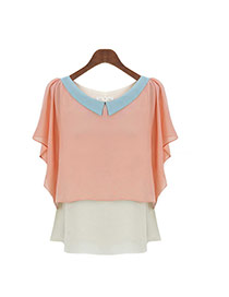 Lovely Pink Color Matching Design Doll Collar Short Sleeve Chiffon Blouse