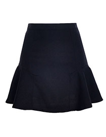 Fashion Black Pure Color Design High-waisted Patchwork Mini Chiffon Fishtail Skirt