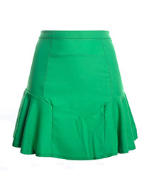 Fashion Green Pure Color Design High-waisted Patchwork Mini Chiffon Fishtail Skirt