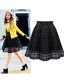 Fashion Black Grid Decorated Pure Color Simple Bubble Chiffon Skirt