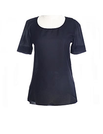 Casual Black Pure Color Design Round Neckline Puff Sleeve Larger Size Chiffon Blouse (without Necklace)