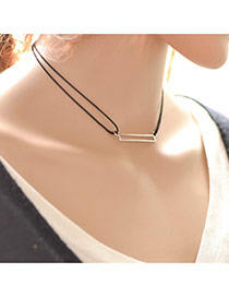 Vintage Black Hollow Out Rectangle Decorated Double Layer Choker