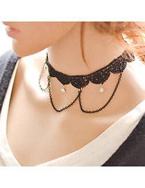 Vintage Black Chain Pendant Decorated Hollow Out Choker