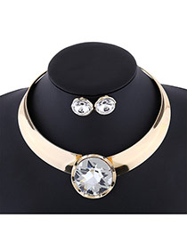 Exaggerate White Round Shape Diamond Decorated Simple Jewelry Sets