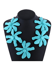 Exaggerate Blue Flower Decorated Pure Color Design Simple Necklace