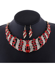 Delicate Red Round Shape Diamond Decorated Simple Jewelry Sets