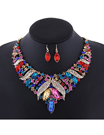 Fashion Multi-color Oval Diamond Decorated Short Chain Jewelry Sets