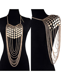 Exaggerate Gold Color Pure Color Design Hollow Out Simple Body Chain& Shoulder Chain