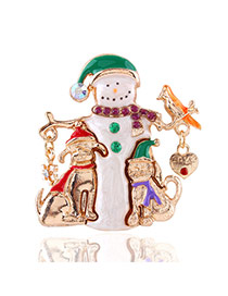 Lovely Multi-color Metal Snowman Shape Decorated Simple Brooch
