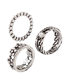 Vintage Silver Color Round Shape Decorated Simple Rings(3pcs)