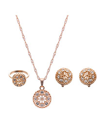 Delicate Gold Color +white Round Shape Pendant Decorated Long Chain Jewelry Sets