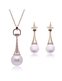 Elegant Rose Gold Pearl Pendant Decorated Long Chain Simple Jewelry Sets