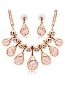 Personality Rose Gold Waterdrop Shape Pendant Decorated Long Chain Jewelry Sets