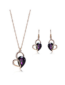 Elegant Purple Oval Shape Diamond Decorated Long Chain Jewelry Sets