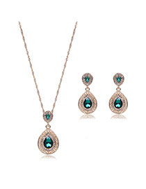 Elegant Green Waterdrop Shape Pendant Decorated Long Chain Jewelry Sets