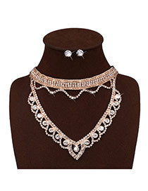 Fashion Gold Color Diamond Decorated Heart Shape Design Simple Jewelry Sets
