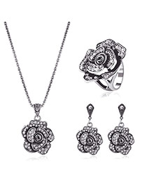 Dellcate Silver Color Diamond Decorated Rose Shape Design Simple Jewelry Sets