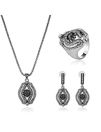 Fashion Silver Color Round Shape Diamond Decorated Hollow Out Design Long Chain Jewelry Sets