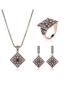 Fashion Gold Color Square Shape Pendant Decorated Pure Color Jewelry Sets