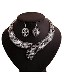 Fashion Silver Color Pure Color Decorated Hollow Out Design Jewelry Sets