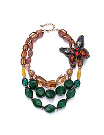 Exaggerate Multi-color Butterfly Decorated Short Chain Multilayer Necklace