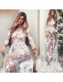 Fashion White Flower Decorated Three Quaters Sleeve Perspective Long Dress