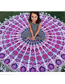 Fashion Purple Regular Geometric Pattern Decorated Tassel Yoga Mat&shawl