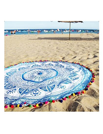 Fashion Sky Blue Geometric Flowe Pattern Decorated Tassel Yoga Mat&shawl