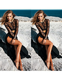 Sexy Black Lace Long Sleeve Decorated High Split Pure Color Dress