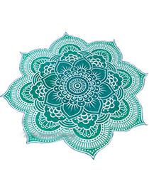 Fashion Blue Flower Pattern Decorated Regular Shape Yoga Mat&shawl