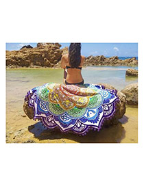 Fashion Purple Regular Geometric Shape Pattern Decorated Tassel Shawl