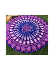 Fashion Purple Peacock Flower Pattern Decorated Round Shape Shawl