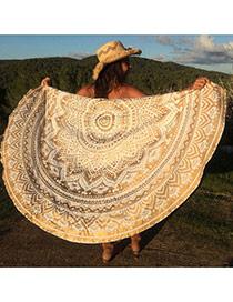 Fashion Khaki Geometric Flowe Pattern Decorated Round Shape Shawl