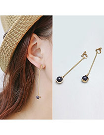 Temperamental Gold Color Pearl Decorated Long Tassel Pendant Earring
