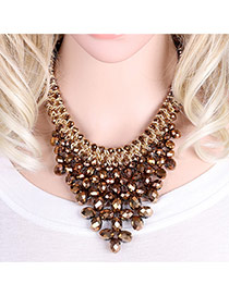 Elegant Coffee Oval Shape Gemstone Weaving Decorated Short Chain Necklace