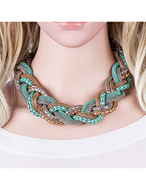 Bohemia Blue Color Matching Decorated Hand-woven Design Necklace
