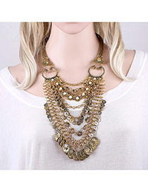 Exaggerated Antique Gold Multilayer Tassel Pendant Decorated Short Chain Necklace