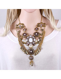 Exaggerated Antique Gold Gometric Shape Tassel Pendant Decorated Short Chain Necklace