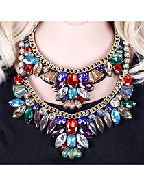 Luxury Multi-color Double Layer Geometric Diamond Decorated Short Chain Necklace