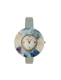 Fashion Green Round Shape Dial Plate Design Color Matching Watch