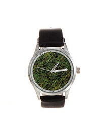 Elegant Green+white Round Shape Dial Plate Design Pure Color Strap Watch