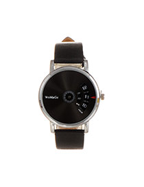 Elegant Black Letter Pattern Decorated Round Shape Dial Plate Watch