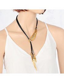 Vintage Gold Color Feather Pendant Decorated Multilayer Necklace
