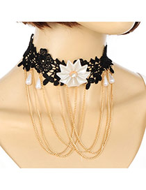 Elegant White Flower&tassle Pendant Decorated Hollow Out Jewlry Sets