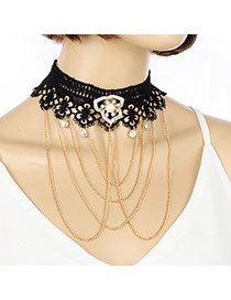 Elegant Black Flower&tassle Pendant Decorated Hollow Out Jewlry Sets