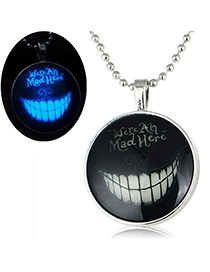 Fashion Blue Smiling Face Pattern Decorated Round Shape Pendant Simple Necklace